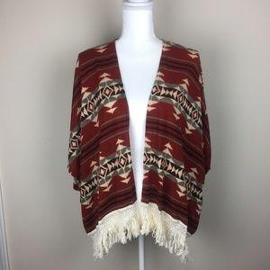 Maeve Shawl NEW Kimono Southwestern Aztec Fringe L